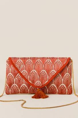 francesca's Jeslyn Embroidered Leaf Clutch - Amber