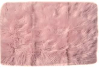 House of Hampton Charlotte Hand-Woven Faux Sheepskin Light Pink Area Rug Rug