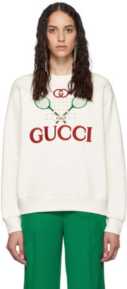 Gucci White Tennis Logo Sweatshirt