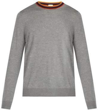 Paul Smith Artist Stripe Merino Wool Sweater - Mens - Light Grey