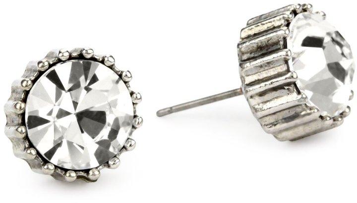 Betsey Johnson Large Round Crystal Stud Earrings