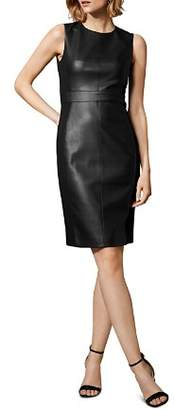 Karen Millen Faux Leather & Ponte Sheath Dress