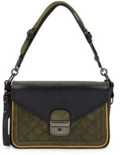 Longchamp Leather & Suede Colorblock Shoulder Bag
