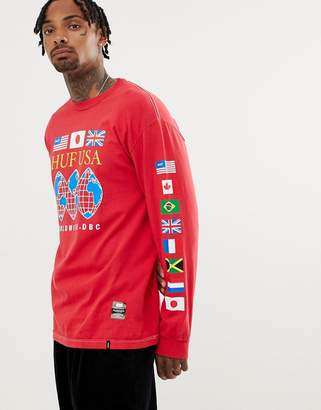 HUF Long Sleeve T-Shirt With Global Domination Print In Red