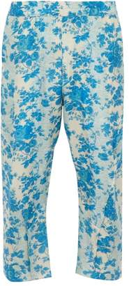 By Walid Hiro Cropped Floral Print Silk Trousers - Mens - Blue White