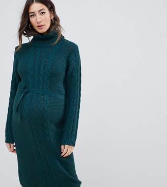 Mama Licious Mama.Licious Mamalicious roll neck belted sweater dress