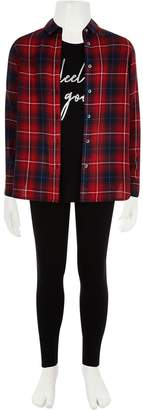 River Island Girls Red Check Clean Shirt Set - Red