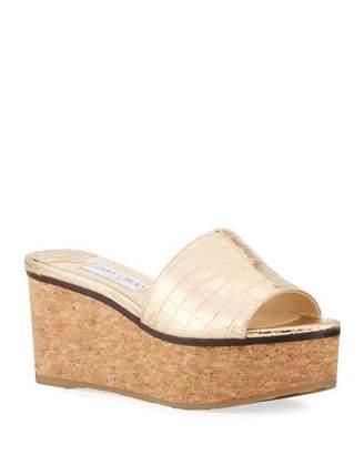 Jimmy Choo Deedee Metallic Cork Platform Sandals