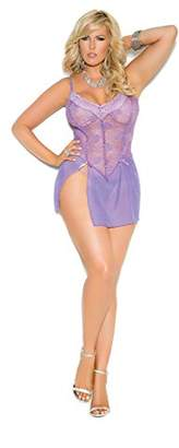 Elegant Moments Women's Plus-Size Queen Size Marcy Lace Mesh Babydoll and G-String
