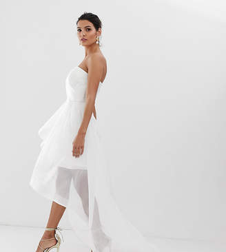 Bariano bridal bandeau organza high low hem maxi dress in white