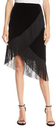Nanette Lepore Jordan Fringed Stretch Velvet Skirt