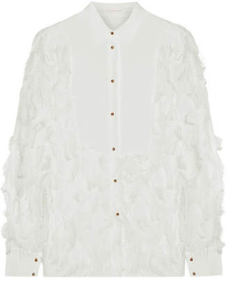 See by Chloe Georgette-paneled Fil Coupé Chiffon Blouse - White