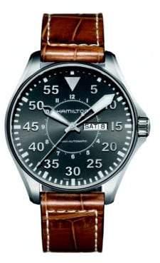 Hamilton Khaki Aviation Pilot Auto Stainless Steel& Embossed Leather Strap Watch