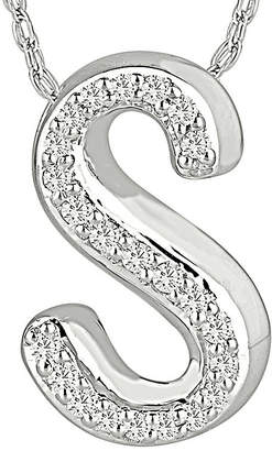 FINE JEWELRY 1/7 CT. T.W. Diamond Sterling Silver Initial S Pendant Necklace