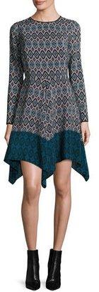 Shoshanna Long-Sleeve Printed Silk Handkerchief Dress, Teal $395 thestylecure.com