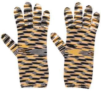 Missoni striped knit gloves
