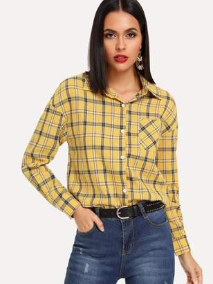 Shein Pocket Patch Plaid Shirt