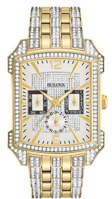 Bulova Men's Crystal Gold Tone Stainless Steel Watch