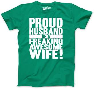 Crazy Dog T-shirts Crazy Dog Tshirts Mens Proud Husband of a Freaking Awesome Wife Funny Marriage T shirt