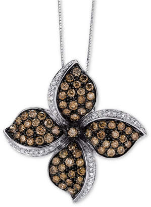 "LeVian Le Vian Chocolatier Diamond Flower 18"" Pendant Necklace (2-5/8 ct. t.w.) in 14k White Gold"