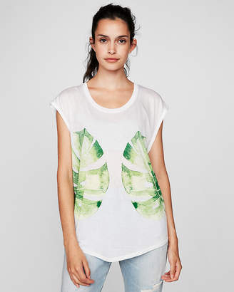 Express Tropical Leaves Dolman Muscle Tank