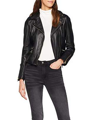Karen Millen Women's Leather Biker Jacket with Gold Trims,8 (Size:UK 8)