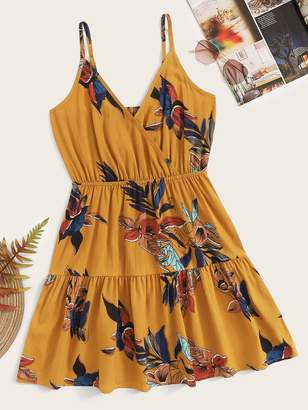 Shein Floral Print Ruffle Hem Surplice Cami Dress