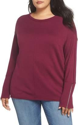 Caslon Mix Gauge Zip Cuff Sweater