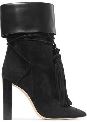 Saint Laurent Tanger Leather-trimmed Tasseled Suede Ankle Boots - Black