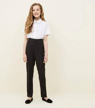 New Look Girls Grey Leather-Look Trim School Trousers