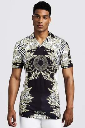 boohoo Muscle Fit Short Sleeve Baroque & Zebra Print Collar Polo