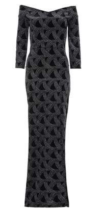 Quiz Black Velvet Glitter Bardot Maxi Dress
