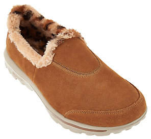 As Is Skechers GOWalk Suede Slip-ons w/Faux Fur Lining-Alluring $43 thestylecure.com