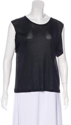 Saint Laurent Semi-Sheer Cold Shoulder Top