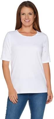 Factory Quacker Essentials Sparkle Elbow Sleeve Knit T-shirt