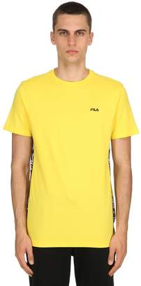 Cotton Jersey T-Shirt W/ Logo Side Bands