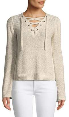 Cupcakes And Cashmere Calida Long-Sleeve Lace-Up Sweater