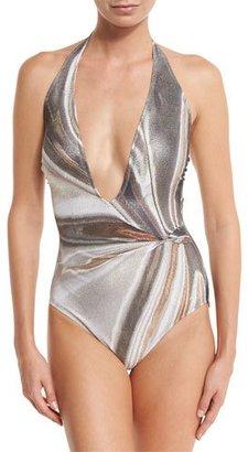Gottex Agate Lamé Plunging Halter One-Piece Swimsuit $258 thestylecure.com
