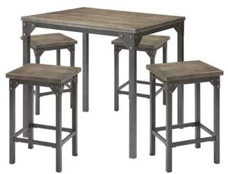 Generic Percie 5-Piece Counter-Height Dining Set, Dark Antique Oak and Antique Black