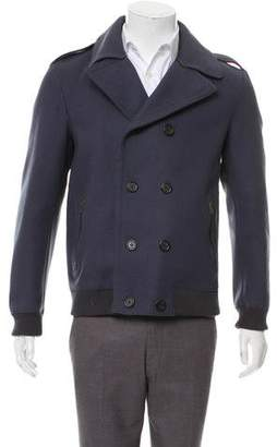 Marc Jacobs Rib Knit Trim Wool Peacoat
