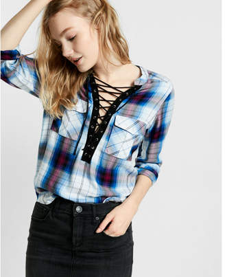 Express blue and white plaid lace-up shirt $59.90 thestylecure.com