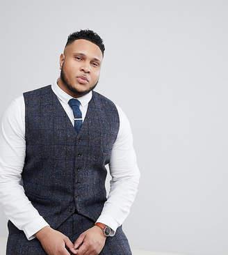 Heart N Dagger plus size slim suit vest in harris tweed in check