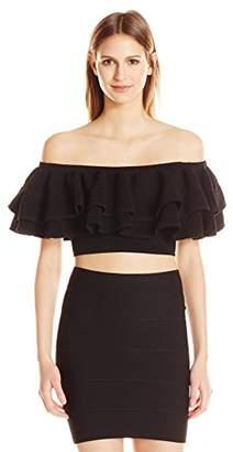 Keepsake The Label Women's Ruffle Off The Shoulder Stretch Knit Crop Top