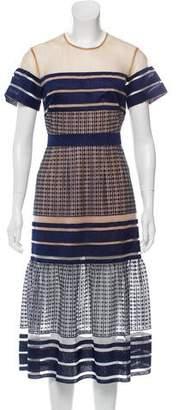 Self-Portrait Short Sleeve Midi Dress