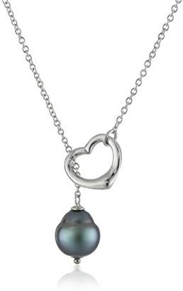 Sterling Silver Open Heart Shape Tahitian Cultured Pearl Chain Pendant Necklace (9-11mm )