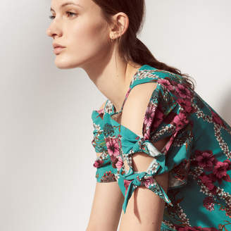 Sandro All-over print top with tie sleeves