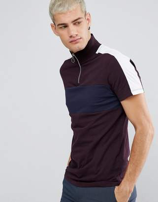 Asos Design T-Shirt With Zip Neck And Panels