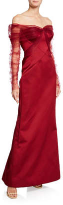Zac Posen Long Draped Tulle & Satin Gown