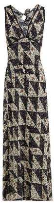 ALEXACHUNG Floral Tile Print Crepe Dress - Womens - Multi