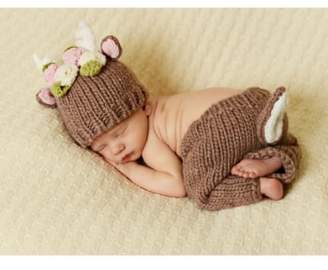 The Blueberry Hill Blueberry Hill 'Hartley - Deer with Flowers' Knit Hat & Pants Set